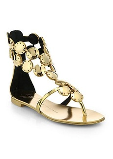 Giuseppe Zanotti Metal Paillette Metallic Leather Sandals