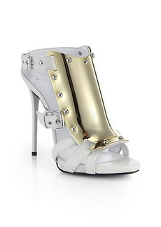 Giuseppe Zanotti Metal-Plate Leather Cage Sandals