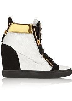 Giuseppe Zanotti Metallic leather and suede wedge sneakers