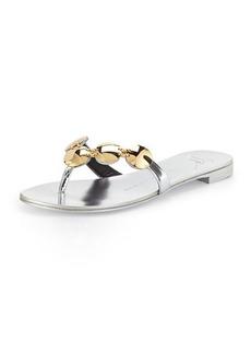 Giuseppe Zanotti Metallic Leather Thong Sandal, Silver