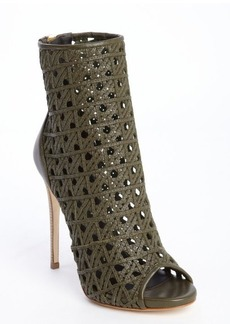 Giuseppe Zanotti military green leather woven detail open toe booties