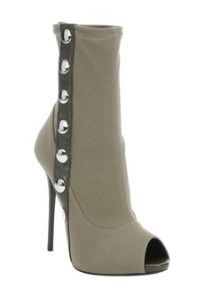 Giuseppe Zanotti military green nylon snap down stiletto booties