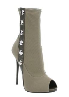 Giuseppe Zanotti military green nylon snap down stiletto booties