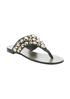 Giuseppe Zanotti military green studded suede thong sandals