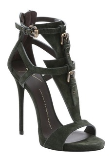 Giuseppe Zanotti military green suede 'Coline' t-strap stiletto sandals