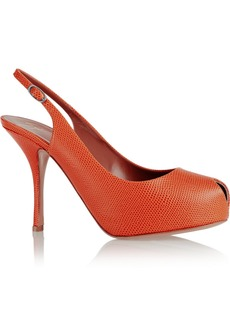 Giuseppe Zanotti Monro lizard-effect leather slingback pumps