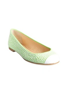 Giuseppe Zanotti neon greenand white glitter suede rhinestone studded cap toe flats