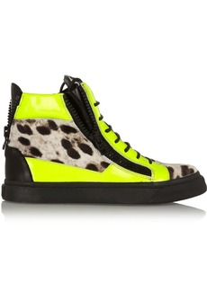 Giuseppe Zanotti Neon patent-leather and leopard-print calf hair sneakers