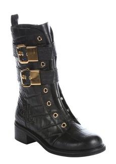 Giuseppe Zanotti nero croc embossed leather 'Moto' side-zip motorcycle boots