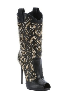 Giuseppe Zanotti nero leather 'Coline 110' pull-on studded peep toe boots