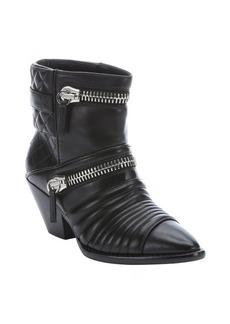 Giuseppe Zanotti nero leather 'Guns 55' zip detail ankle booties