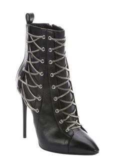 Giuseppe Zanotti nero leather 'Olinda 110' lace-up detail stiletto ankle booties