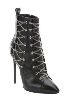 Giuseppe Zanotti nero leather 'Olinda 110' lace-up detail stiletto ankle booties