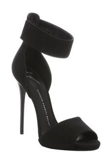 Giuseppe Zanotti nero suede ankle strap stiletto sandals