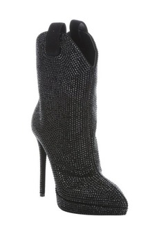 Giuseppe Zanotti nero suede 'Emy 110' pull-on beaded platform ankle booties