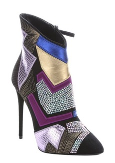 Giuseppe Zanotti nero suede mixed media concealed platform ankle booties