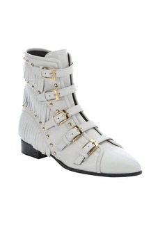 Giuseppe Zanotti off white leather studded 'Jeti' ankle boots