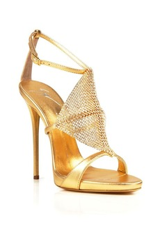Giuseppe Zanotti Open Toe Platform Evening Sandals - Coline Diamond High Heel
