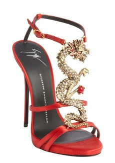 Giuseppe Zanotti orange satin strappy dragon emblem sandals