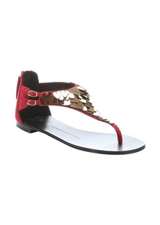Giuseppe Zanotti passion red suede scale embellished t-strap thong sandals