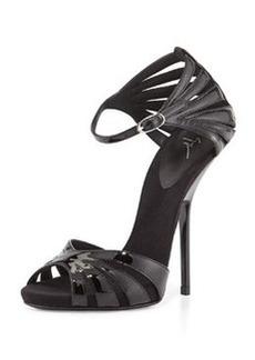 Giuseppe Zanotti Patent Leather Strappy Sandal, Black