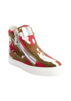 Giuseppe Zanotti pink and white and green camouflage calf hair zip up sneakers