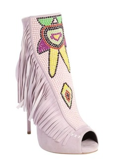 Giuseppe Zanotti Pink suede embellished peep toe 'Coline' heeled ankle boots