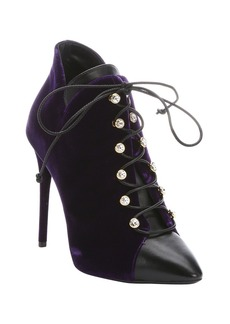 Giuseppe Zanotti purple leather and velvet 'Olinda 110' ankle ...