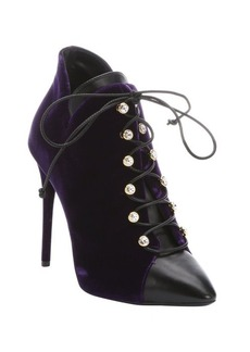 Giuseppe Zanotti purple leather and velvet 'Olinda 110' lace-up ankle booties