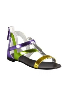 Giuseppe Zanotti purple, lime and yellow mirrored leather heel zip sandals