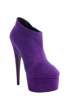 Giuseppe Zanotti purple suede side zipper detail platform ankle booties