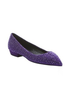 Giuseppe Zanotti purple suede 'Yvette' crystal detail pointed toe flats