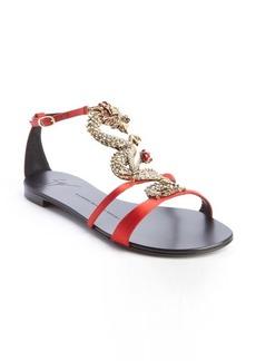 Giuseppe Zanotti raso doppiato fiamma jewelled dragon flat sandals