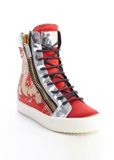 Giuseppe Zanotti red dragon embroidered satin and silver leather high top sneakers