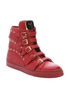 Giuseppe Zanotti red leather fringed 'London' high-top sneakers
