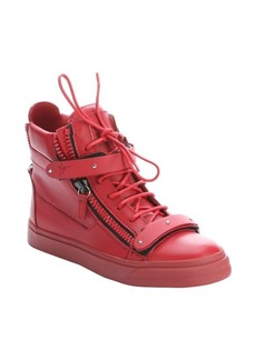 Giuseppe Zanotti red leather zipper detail high-top sneakers