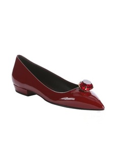 Giuseppe Zanotti red patent leather jewel embellished flats