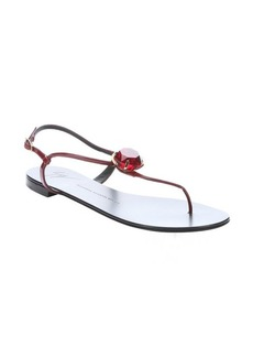 Giuseppe Zanotti red patent leather t-strap embellished sandals