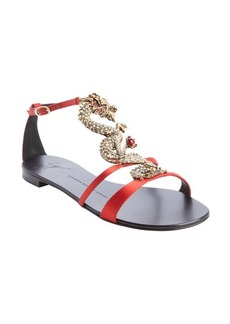 Giuseppe Zanotti red satin jewelled dragon flat sandals
