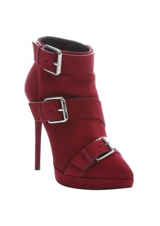 Giuseppe Zanotti red suede buckle detail 'Emy' booties