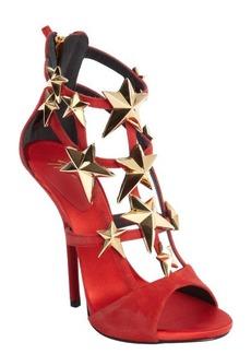 Giuseppe Zanotti red suede star studded 'Aliek' platform sandals