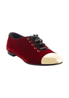 Giuseppe Zanotti red velour 'Dalila 05' goldtone cap toe lace up sneakers