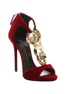 Giuseppe Zanotti red velvet chain link stiletto sandals