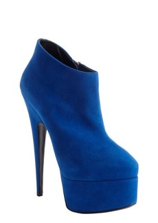 Giuseppe Zanotti royal blue suede side zipper detail platform ankle booties