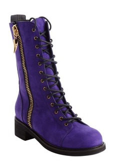 Giuseppe Zanotti royal purple side zipper detail lace up combat boots