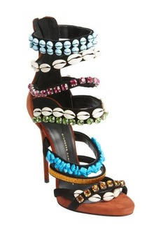 Giuseppe Zanotti ruse suede strappy shell and jewel studded heel sandals
