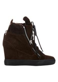 Giuseppe Zanotti Shearling-Lined Double-Zip Wedge Sneakers