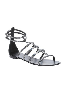 Giuseppe Zanotti silver holographic leather 'Roll' gladiator sandals
