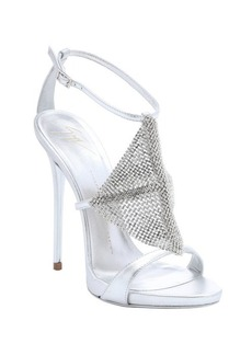 Giuseppe Zanotti silver leather crystal detail 'Coline' sandals