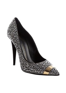 Giuseppe Zanotti silver leather crystal studded detail 'Ester 80' pointed toe pumps